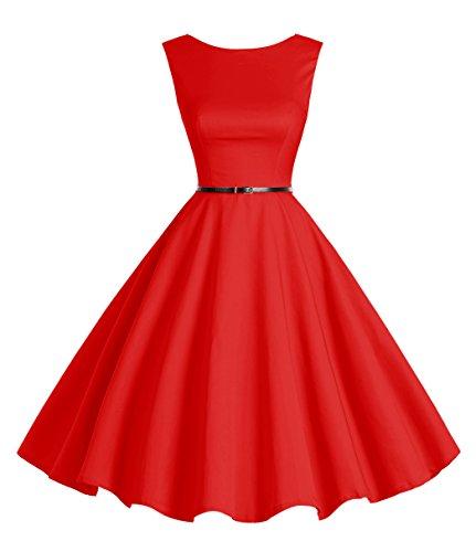 Kleid Petticoat Rot (Bbonlinedress 50s Retro Schwingen Vintage Rockabilly kleid Faltenrock Red)