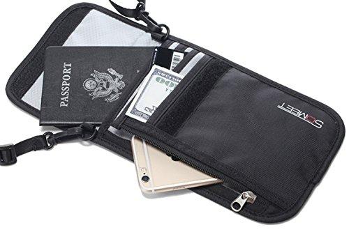 Travel Passport Holder Half Wallet mit RFID-Blockierung - Multifunktionstasche mit Reißverschluss und versteckter Geldbörse für - Rfid-reise-geldbörse Hals