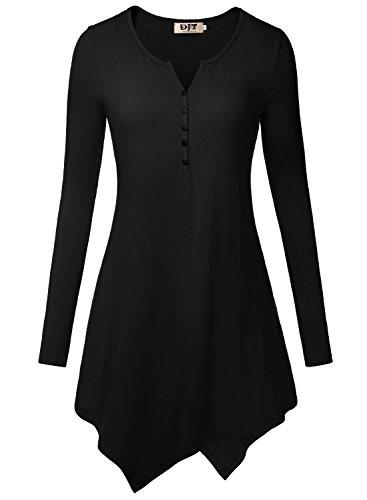 DJT Damen Langarmshirt V-Neck Knopfleiste Asymmetrisch Saum T-Shirt Longshirt Schwarz