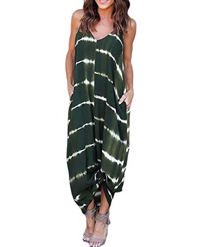 Kidsform Femme Robe de Plage d'été à Bretelles Chic Maxi Robe à Rayures Boheme Sexy Robe Longue Femme Col en V Casual pour Soirée Cocktail Casual B-Vert armée Medium/FR38