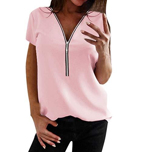Lange Rippe Stricken Tanks (Routinfly Nue 2019 Damen V-Ausschnitt Reißverschluss Tops,Frauen Sommer beiläufige lose T-Shirt Bluse T Top Pullover Tunika Shirt)