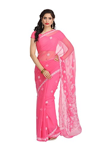 ADA Women's Faux Georgette Chikankari Ethnic Wear Saree (Pink) A126980