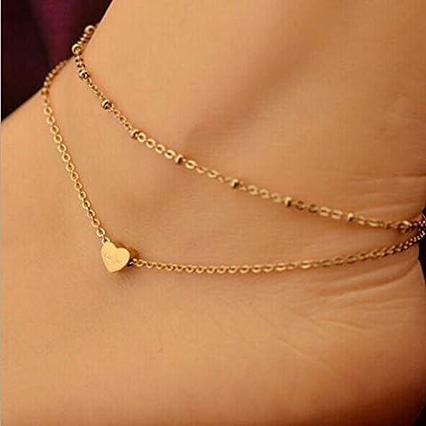 Chaîne de cheville LILICAT Femmes Elégant Double Chain Bijoux Coeur Perle Cheville Ankle Bracelet Foot Beach Bagues d'orteil (Gold)