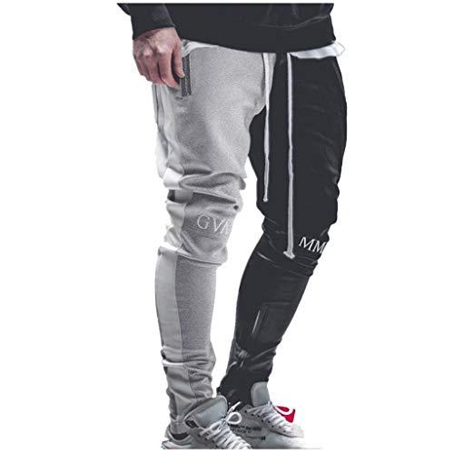 KaloryWee Herren Lange Hosen Patchwork Farbe Casual Solid Jogger Pant Hip Hop Sporthosen Exklusiv Stylische Fitnesshose Deutscher Junge