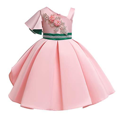 Baby Kleid Sasstaids Mädchen Kleid Floral Baby Prinzessin Brautjungfer Pageant Kleid Geburtstag Party Hochzeitskleid schräge Schulter Blumendruck trägerlos Prinzessin Kleid