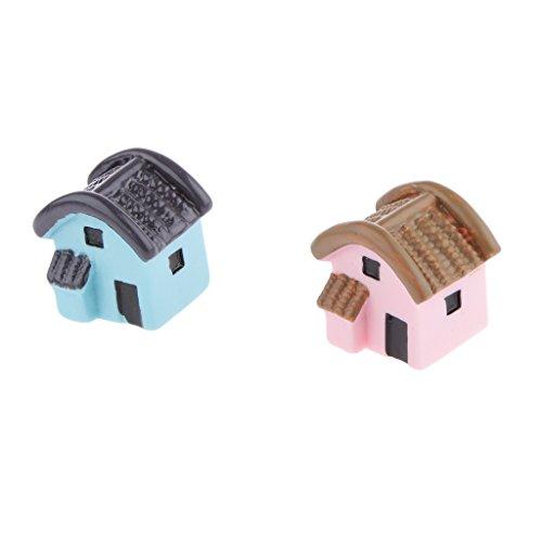 Insieme Di 2pz Piccola Casa Micro Camera Mestiere Paesaggio Decorazione Del Giardino In Miniatura # 1