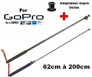 Perche télescopique 2 mètres Aluminium pour caméra GOPRO + Adaptateur Tripod OFFERT (Pour apn gopro hero 1 & 2 & 3 & 3+ White, silver et black edition)