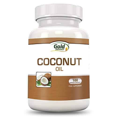 Cápsulas de aceite de coco - Pastillas de aceite de coco orgánico virgen extra - 100 perlas, 1.000 mg cada una - Prensado en frío - Instalaciones con certificado NCF - Elaborado en los EE.UU.