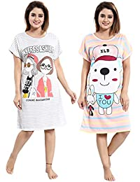YKI Women's Hosiery Cartoon Knee Length Nighty (Pack of 2)