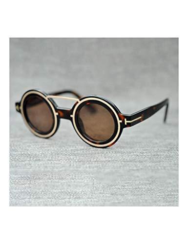 HNPYY Sonnenbrillen Runde Sonnenbrille Männer Frauen Vintage Sonnenbrille Für Mann Punk Retro Kreis Gothic Männlich Braun Blau Objektiv, A