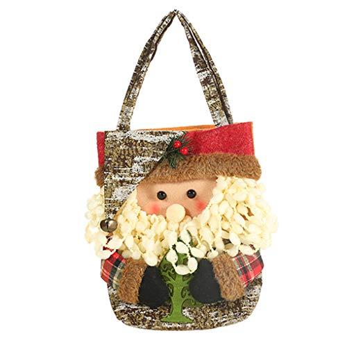 Mengonee Weihnachten Candy Bag Geschenk Lagerung Tote Handtasche Sankt-Schneemann Stoff Weihnachten Sack Geschenk-Beutel -