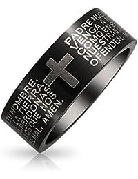 Bling Jewelry unisex de Acero Inoxidable Negro Padre Nuestro señores Anillo de oración