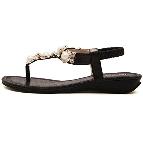 BienBien Sandali Donna Gioiello Moda Scarpe Bassi Infradito Flip Flop Eleganti Pantofole Boemia Nero