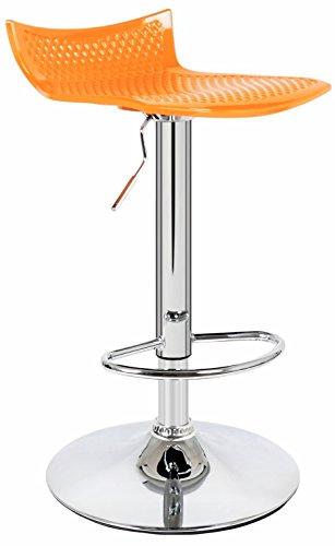 Sgabello sedia poltrona in acciaio cromato resina e abs arancione