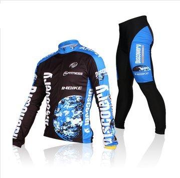 Inbike Herbest winter Fleece Rad-Trikots Männer Hemd mit lange Ärmeln Anzug Radbekleidung mit Fahrradhose COOLMAX Silikonmatte/ mit eine ein Outdoor peak Professionelle Vliestasche !