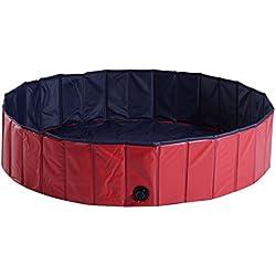 Bañera Piscina para Perros y Mascotas 140x30cm Plegable tipo Baño de Madera con Desagüe y Color Rojo