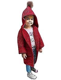 JiaMeng Ropa para niños Chaqueta Abrigada a Prueba Suéter de Punto sólido con Capucha Cardigan Abrigo Ropa