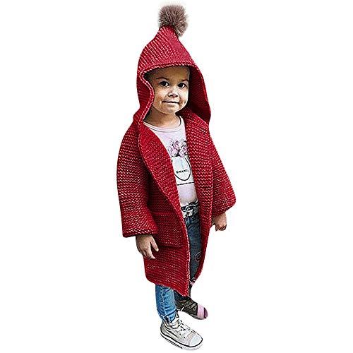 Kinder Mäntel Sunnydrain Kinder Jacken Strickwaren Reine Farbe Lange Länge Hoodie Winter Warm Herbst Kapuzen Outerwear Baumwolle Langarm