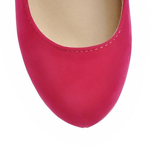 AgooLar Femme Boucle Rond à Talon Haut Couleur Unie Suédé Chaussures Légeres Rouge