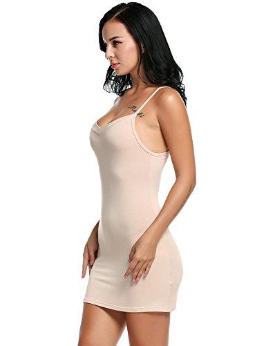 begorey Donna Sottoveste Biancheria da Notte Sexy V-Collo Spalline Sottili Regolabili Vestito Sottile 5 Colori Nudo