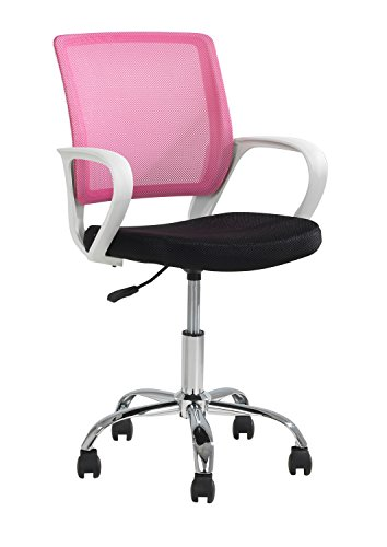 Kinderdrehstuhl, Schreibtischstuhl DAGGY, Mesh, schwarz, pink, mit Armlehnen, höhenverstellbar