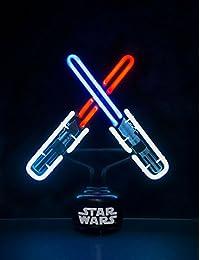 Star Wars Lightsaber Oficial de doble choque pequeña de la noche la luz de neón de la lámpara de noche