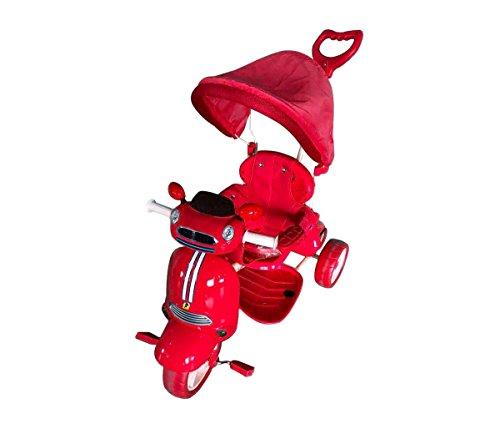 Mediawave Store Triciclo Car a Spinta con Pedali LT886 per Bambini con cappottina luci e Suoni (Rosso)