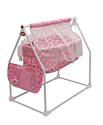 Baby Cradle Cot For Baby with Wheels & Canopy Color Pink : Oximus