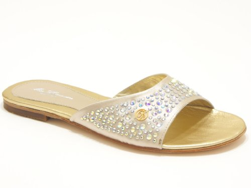 Blumarine scarpe donna sandalo ciabatta in raso con strass colore sabbia nr 36