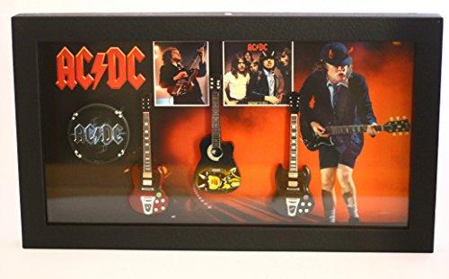 rgm8801Angus Young ACDC Guitarra en miniatura recogida en el marco de Shadowbox