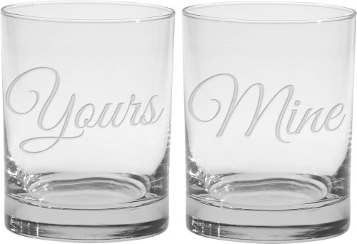 Culver 2-Piece Etched Yours and Mine Double Old Fashioned Glasses Set, 14-Ounce by Culver 14 Oz Double Old Fashioned