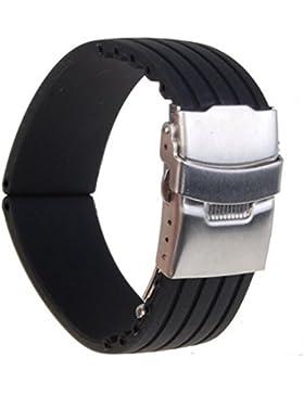 SAMGU 22mm breite Gummi Uhrenarmband Armband Band Faltschliesse wasserdicht Sport schwarz