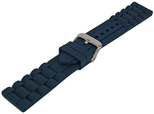 Silikon Uhrenarmband Blau 18mm-26mm Gliedermuster 22mm - Uhrenarmband Silikon 23mm