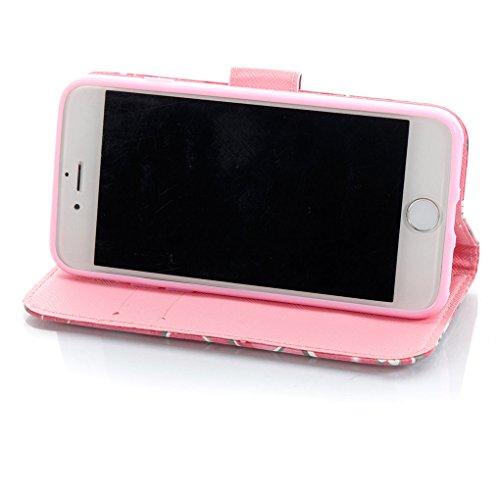 iPhone 7 / iPhone 8 Hülle, SATURCASE Schönes 3D Muster PU Lederhülle Ledertasche Magnetverschluss Flip Cover Brieftasche Case Handy Tasche Schutzhülle Handyhülle Hülle mit Standfunktion Kartenfächer u Muster-15