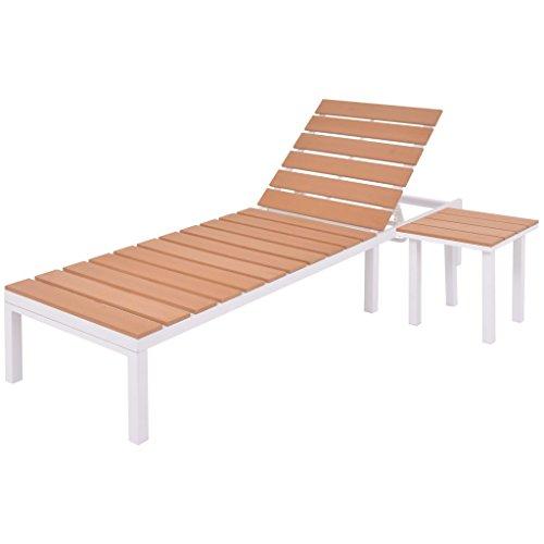 vidaXL Sonnenliege mit Tisch Alu Aluminium WPC Gartenliege Strandliege Liege