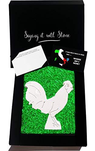 Coq fait à la main en Italie - Symbole de bonne chance et de courage - Coffret cadeau et carte de message inclus - Idée cadeau femme homme anniversaire marriage
