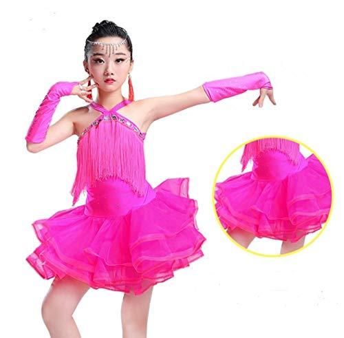 YZLL Kinder Latin Tanzkleid Tutu Wettbewerb Kostüme Girls Latin Dance hell Quaste ()