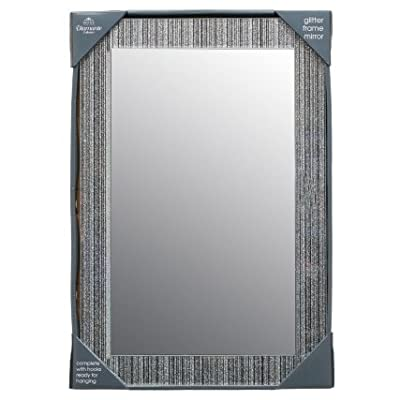 Glitter silver mirror Frame Glass living room lounge bedroom wall 40x60cm - cheap UK light shop.
