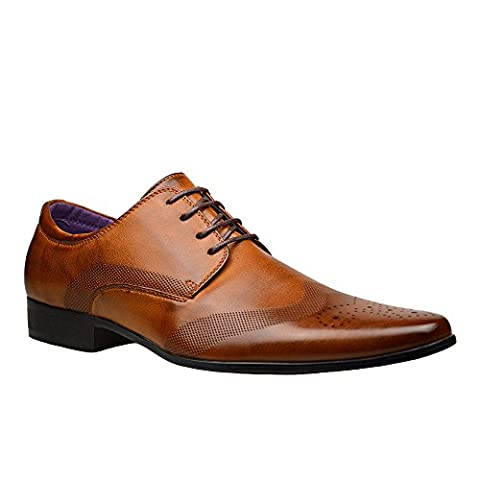 Mens Fashion New Brown Leather Shoes Formal Smart Dress 8 UK Brown