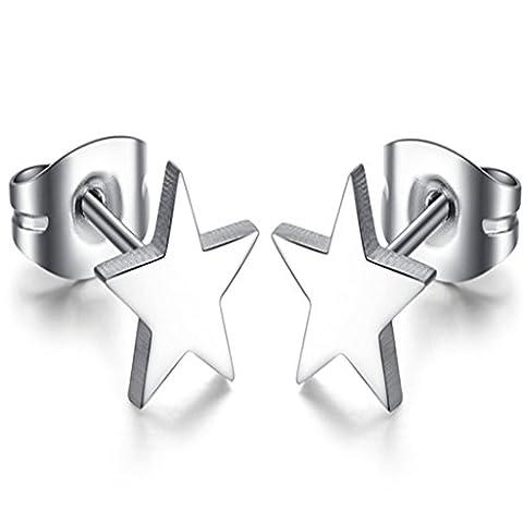 Feilok Kleine Sternen Poliert Sternen Edelstahl Ohrringe für Unisex/Herren/Damen,Silver Farben