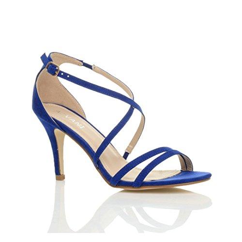 Femmes talon moyen haut lanières croisé mariage bal sandales chaussures taille Bleu De Cobalt Daim