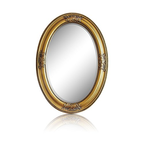 Espejo Pared - Estilo Barroco - Shabby Chic Espejo Grande Ovalado 50x70 cm - Oro