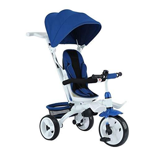 Faltbares Kinderwagendreirad, Anfängersonnenschatten 4 in 1 Dreirad, 1-6 jähriges Jungen- und Mädchendreiradgeburtstagsgeschenk, blau und rosa (Color : Blue) (Flyer-rosa Radio)