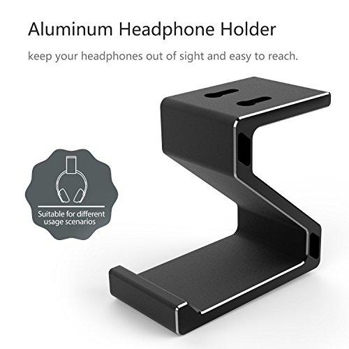 Kopfhörer Ständer, GVDV Kopfhörerhalterung aus Aluminium unter Schreibtisch Headset Halterung Kopfhörer halter Standplatz für alle Headset Kopfhörer (Schwarz) - 6