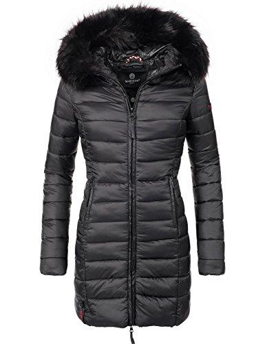 Marikoo Damen Winter-Mantel Steppmantel Rose (vegan hergestellt) Schwarz Gr. M