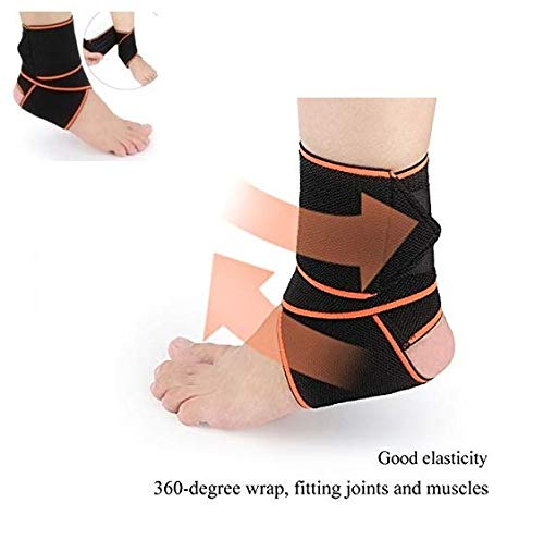 SKUDGEAR Adjustable Ankle Support Compression Brace with Silicone Strips for Enhanced Sports Protection, Running, Pain and Sprain Relief (Free Size)