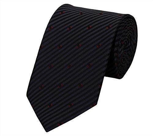 Fabio Farini Krawatte breit perfect zur Hochzeit oder Arbeit (schwarz mit rot)