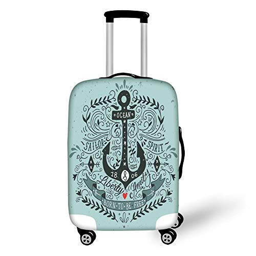 Travel Luggage Cover Suitcase Protector,Navy,Vintage Style Anchor Lettering Quotes and Floral Sailor Marine Design Artwork Print Decorative,Turquoise,for Travel M