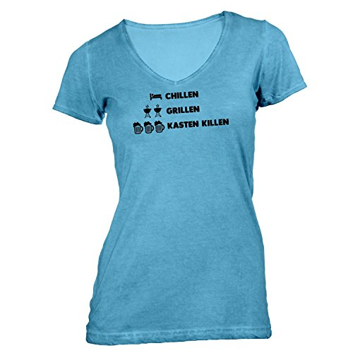 Damen T-Shirt V-Ausschnitt - Chillen Grillen Kasten killen - Party Friends Hellblau