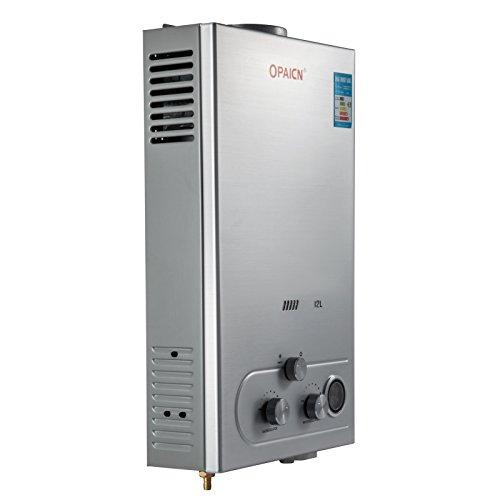 Anhon Tragbare Tankless Warmwasserbereiter 8-18L LPG Gas Propan Durchlauferhitzer Tankless Instant Boiler mit Duschkopf und LCD Display (12L) (Durchlauferhitzer Boiler)